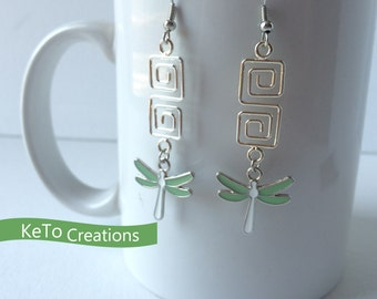 Earrings, Dragonfly Earrings, Dangle Earrings, Wire Earrings, Green And White Earrings