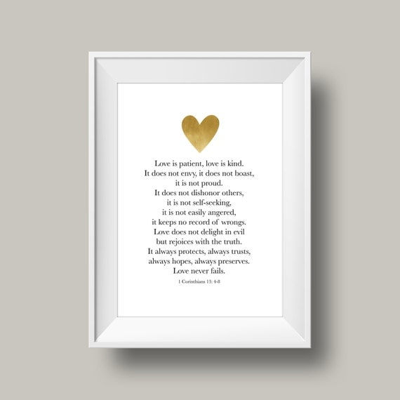 1 Corinthians 13: 4-8 Print Love Print By EastAvenueCreations