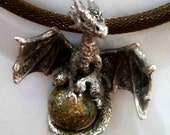 Dragon pendant with glass