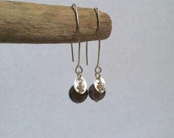 """Earrings """"Atoms Crochus"""" - smoked crystals, pearls of freshwater and Silver 925"""