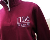 Pi Beta Phi Quarter Zip Pullover,  PiPhi cadet fleece pullover, Pi Beta Phi Sorority Letters Sweatshirt, Greek Apparel, Greek Apparel,