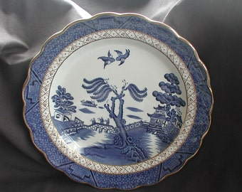 """Booths Set of 3 """"Real Old Willow"""" Blue and White Willow Pattern Salad Plates"""