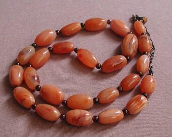 Vintage Carnelian Nuggets Garnet Spacer Beads Heavy Necklace