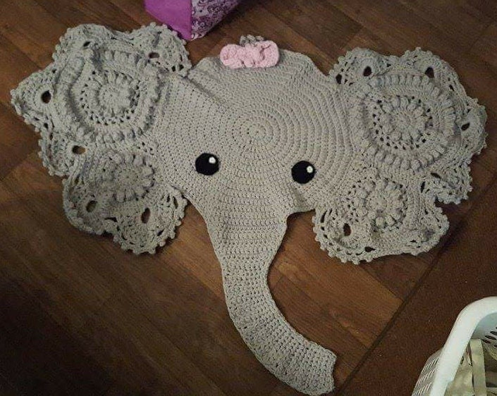 Handmade Crochet Elephant Rug by JessMarksTheSpot on Etsy