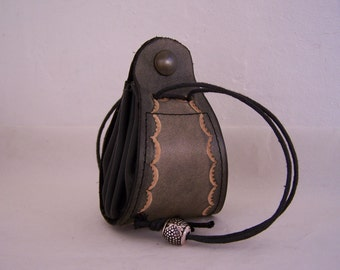 Leather purse black and grey