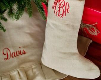 Juco Tree Skirt - Juco Santa Stocking - Christmas Stocking - Monogrammed - Personalized