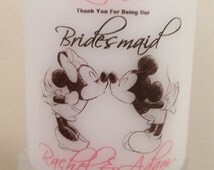 Personalised Disney bridesmaid or Maid of Honour thank you gift candle favour wedding cinderella Minnie mickey