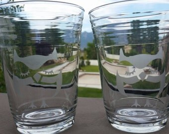 Owl Etched Glasses, Personalized Glasses, Holiday Glasses, Etched Cups