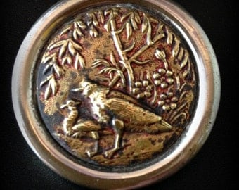 Antique Picture Button.  Game Birds. 38 mm size