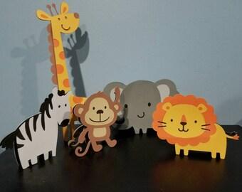 Safari centerpieces, safari party, safari baby shower decor, giraffe party decoration, custom Baby shower deoratons, elepant decorations