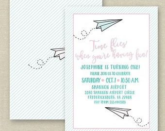 Paper Airplane Birthday Party Invitation--Time Flies When You're Having Fun, Pink, Aqua, Mint