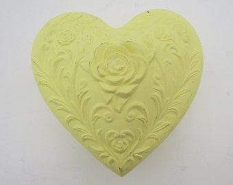 Yellow Matte Finish Heart-Shaped Clay Box with Raised Floral Detailing
