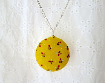Floral Print Fabric Jewelry, Necklace with Japanese Fabric, Floral Jewelry, Yellow Pendant, Retro Jewelry, Handmade Pendant, Button Pendant