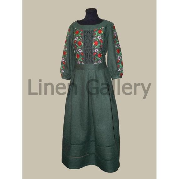 Ukrainian modern embroidered linen maxi dress machine
