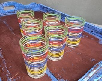 6 striped glasses vintage