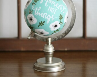 Hand Painted Floral Globe
