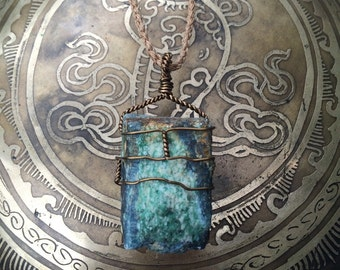 Kyanite fuchsite wire wrap necklace