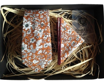 Tie and Pocket Square Duo Set by Poser Club - 'The Bronze' Floral Set
