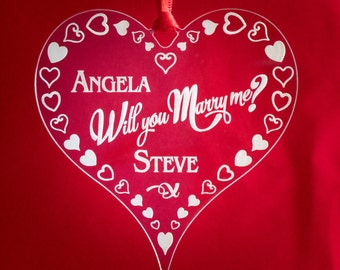 Marriage Proposal Heart Keepsake Will You Marry Me Gift Customised Name Text Engraved Personalised Acrylic Hanging Heart  MH3