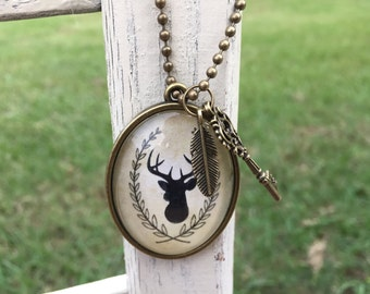 Rustic Pendant Necklace, Deer Jewelry, Deer Pendant, Gift