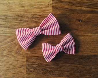 El Rojo | Red and White Striped Bow
