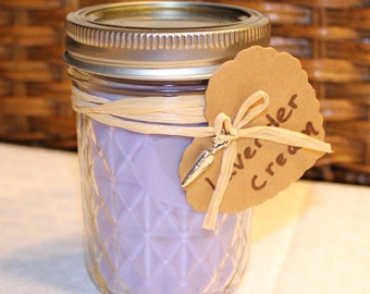 Lavender Cream Soy Candle 8 oz Mason Jar