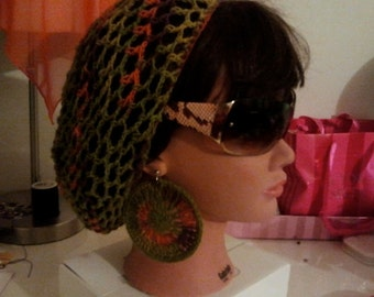 Snood/Bohemian hairnet with matching earrings.