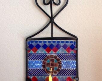 Blue Bugle Candle Holder