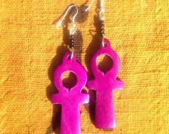 Purple Ankh Earrings