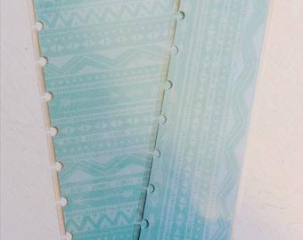 Happy Planner Dashboard and Bookmark in Aqua Aztec