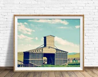 "grain elevator, instant download art, printable art, landscape, large art, large wall art, print, wall art, farmhouse wall art -""Faded Grey"""