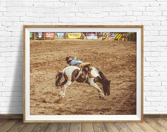 "photography, rodeo, bucking bronco, instant download printable art, large art, large wall art, western wall art, cowboy, art - ""Saddle Up"""