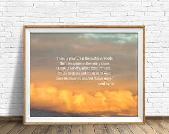 "quotes, quote print, inspirational quote, large art, wall art, instant download, printable art, clouds - ""Pleasure in the Pathless Woods"""