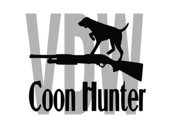 Coon Hunter Dog Cutting Files Silhouette SVG, DXF and EPS vinyl cut Files, for Cameo and Cricut Explore machines