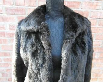 Black Mink Vintage Fur Jacket.