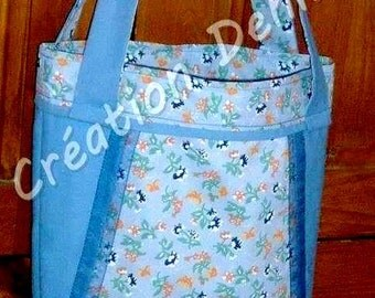 Tote bag in canvas and printed cotton