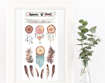 Boho dreamcatcher and feathers watercolor planner stickers