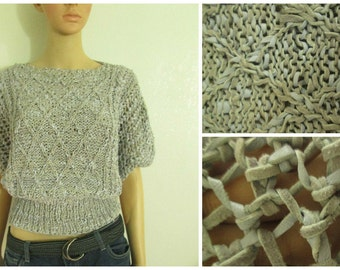 Leather Knit Blouse / Handmade / Airy / Waist