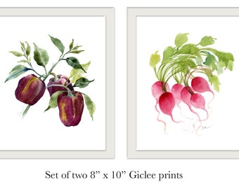 "Giclée print set of 2. Vegetable watercolor prints. Watercolor bell peppers. Watercolor radishes.  8"" x 10"""