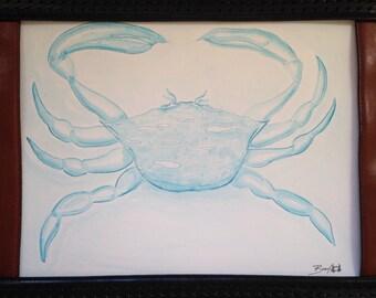 Blue Crab Original Watercolor Pencil Art