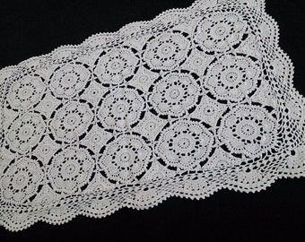 Vintage Lace Rectangular Table Runner. Crocheted Antique Linen White Colour Cotton Lace Table Runner. RBT0218
