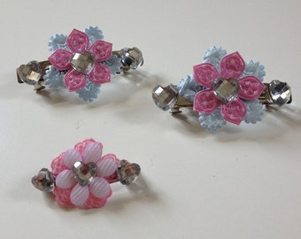 Pretty pink, blue and white flower hair clips and brooch