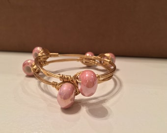 Pink Bead Wire Wrapped Bangle