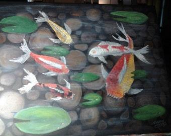 Japenese Koi in a Pond/Acrylic/ 16x20 gallery wrap canvas unframed