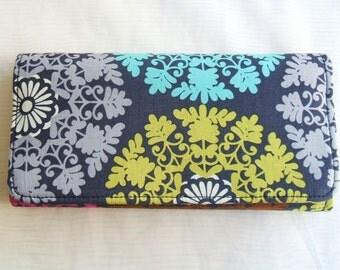 Art Deco cotton fabric wallet, tri fold, clutch.