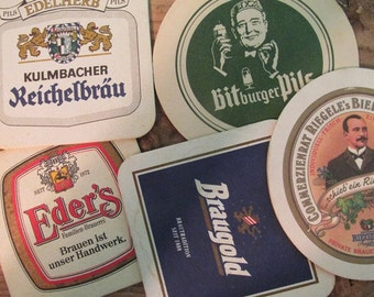 5 Vintage Beer Coasters European Coasters Vintage Advertising
