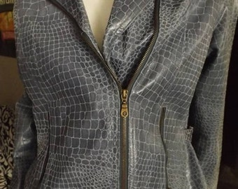 Gray Leather Crocodile Pattern Coat