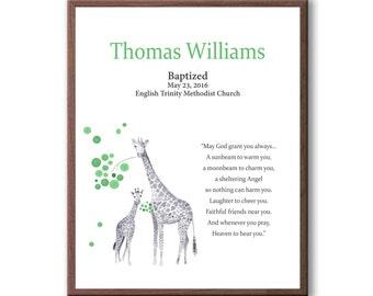 Baptism Gift For Boy, Personalized Custom Baptism Art Gift, Giraffe Baptism Gift, Christening Gift