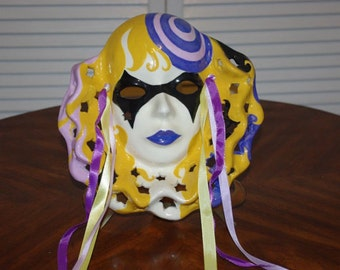 2 Ceramic Mardi Gras Masks Handmade  WALL HANGINGS Handpainted