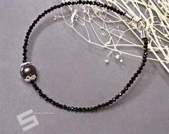 Delicate Black Spinel Bracelet With Black Pearl In Sterling Silver, Tiny Black Gemstone Skinny Stacking Bracelet, Black Spinel Jewelry